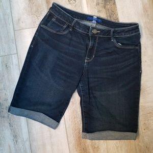 Longer denim shorts